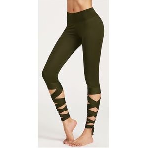 Boutique Army Green Ballet Wrap Tie Leggings